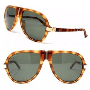 Salvatore Ferragamo Foldable Aviator Sunglasses